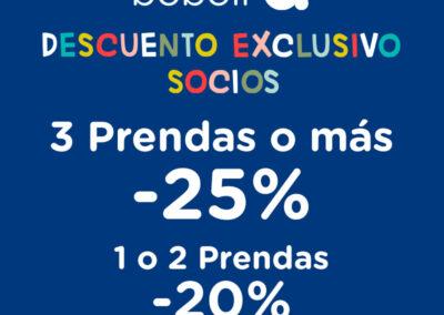 -25% de descuento si compras tres o más prendas y -20% de descuento si compras dos o menos prendas en Boboli