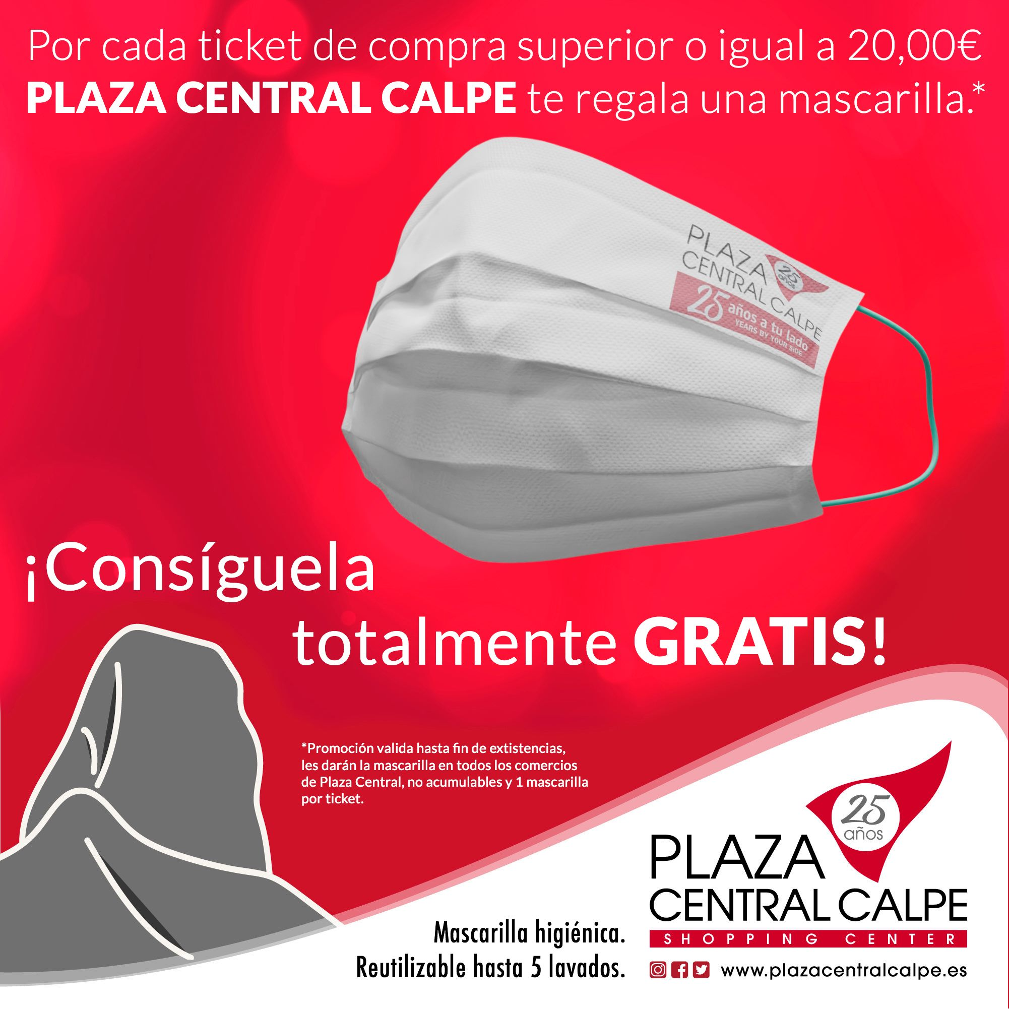 Consigue Gratis la mascarilla de Plaza Central Calpe