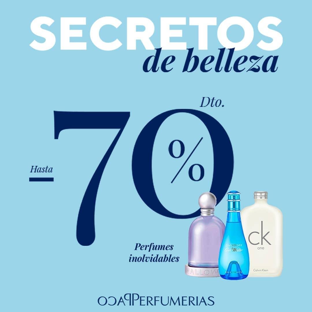 Hasta el 70% en primeras marcas de cosmética, maquillaje y perfumería en PACO PERFUMERÍAS.